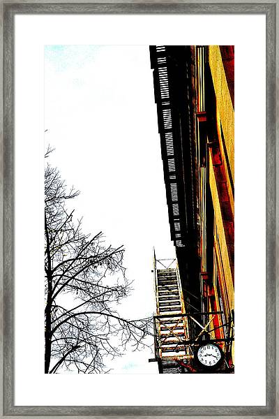 Fire Escape And Clock - Ontario - Canada Framed Print