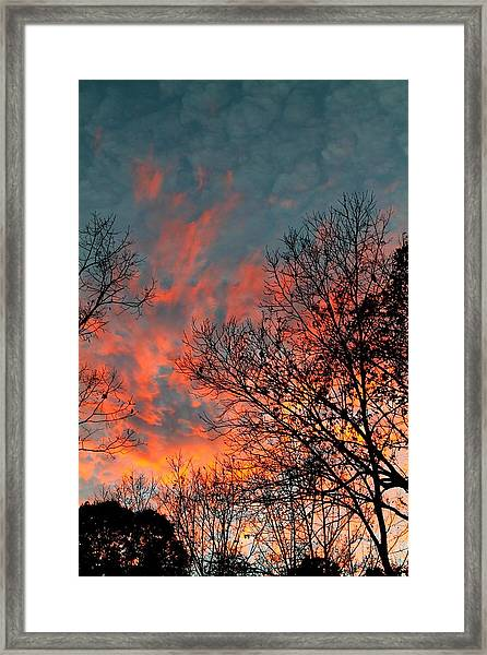 Framed Print featuring the photograph Fire In The Sky by Candice Trimble