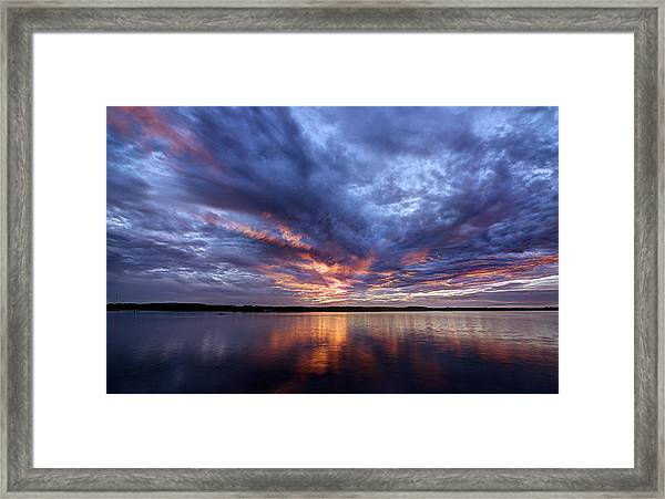 Fire In The Sky Sunset Over The Lake Framed Print