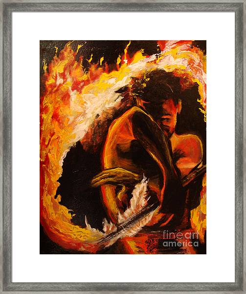 Fire Spin Framed Print by Donna Chaasadah