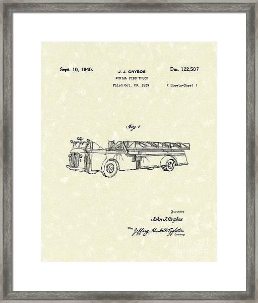 Fire Truck 1940 Patent Art Framed Print