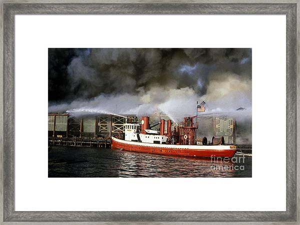 Fireboat Harvey In Action Framed Print