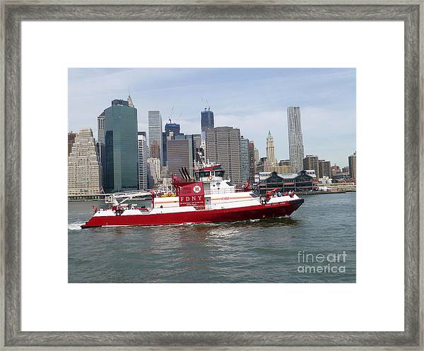 Fireboat Three Forty Three  Fdny With The Nyc Skyline Framed Print