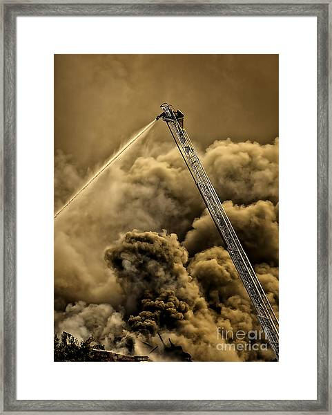 Firefighter-heat Of The Battle Framed Print