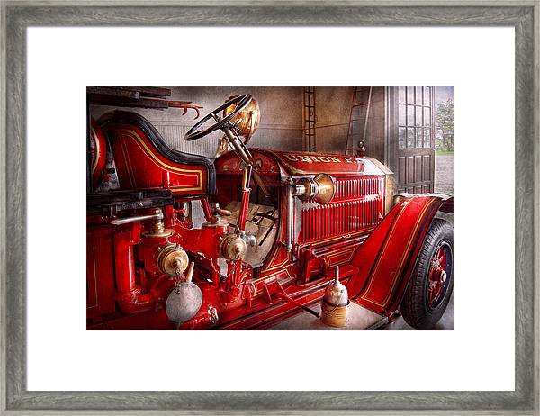 Fireman - Truck - Waiting For A Call Framed Print