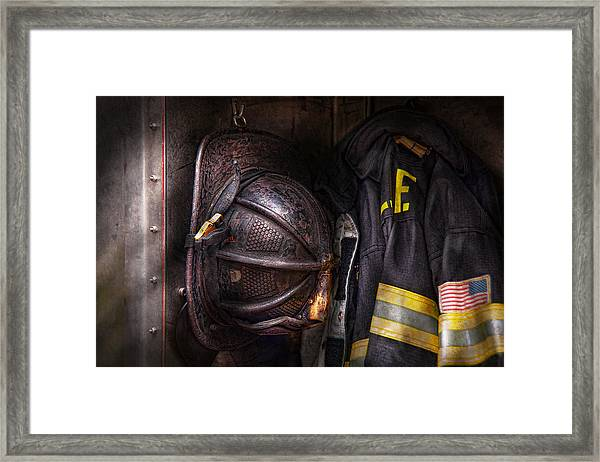 Fireman - Worn And Used Framed Print