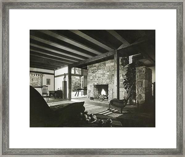 Fireplace In Living Room Framed Print