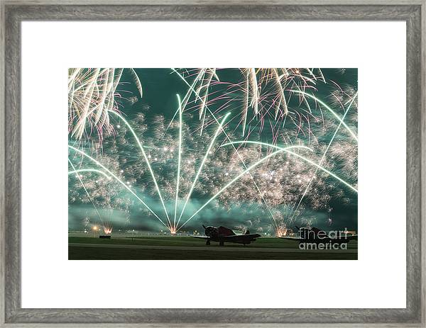 Fireworks And Aircraft Framed Print