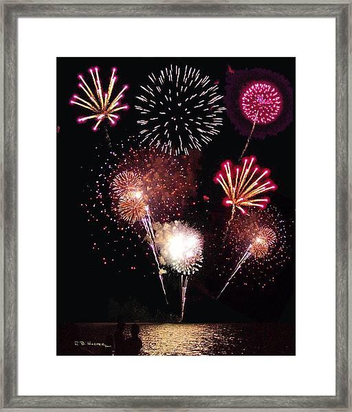 Fireworks At St. Albans Bay Framed Print