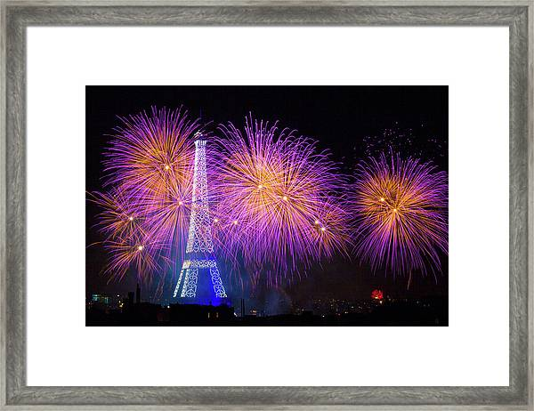 Fireworks At The Eiffel Tower For The 14 July Celebration Framed Print