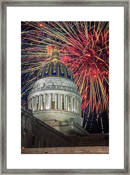 Fireworks At Wv Capitol Framed Print