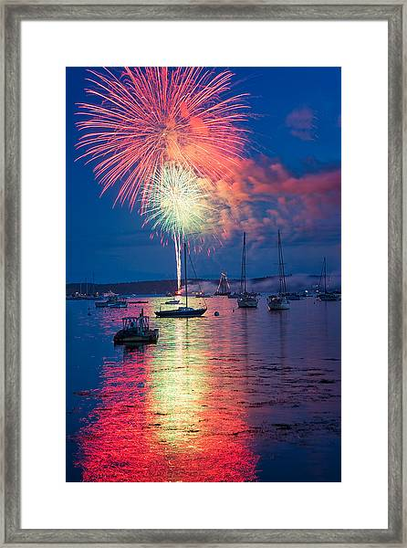 Fireworks Over Boothbay Harbor Framed Print