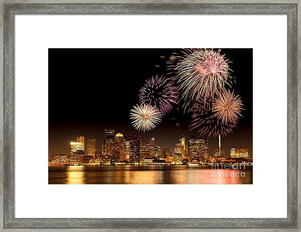 Framed Print featuring the photograph Fireworks Over Boston Harbor by Susan Cole Kelly