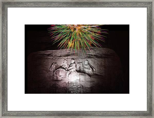 Fireworks Over Stone Mountain Framed Print