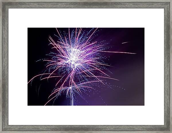 Framed Print featuring the photograph Fireworks - Purple Haze by Scott Lyons