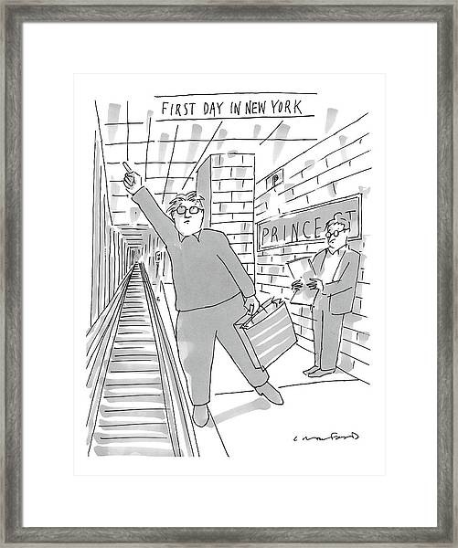 First Day In New York -- A Man On A Subway Framed Print