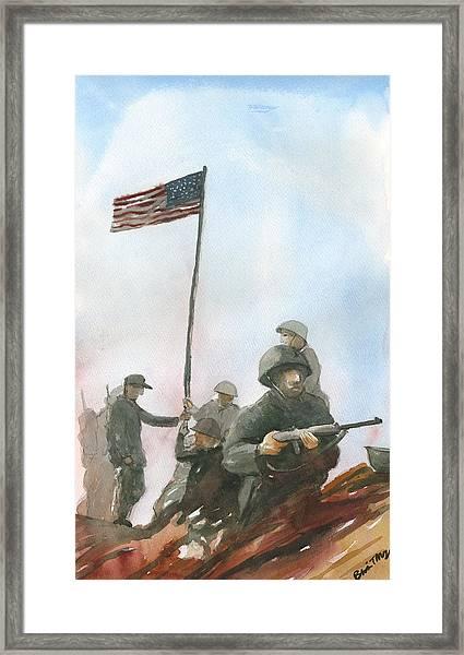 First Flag Over Iwo Jima Framed Print