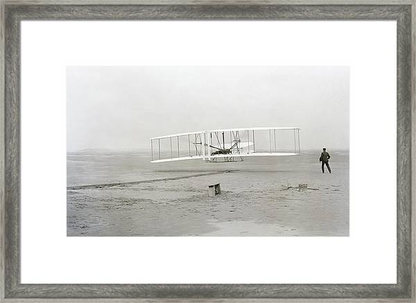 First Flight Captured On Glass Negative - 1903 Framed Print