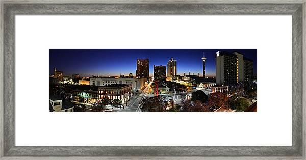 First Light On San Antonio Skyline - Texas Framed Print