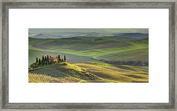 First Light In Tuscany Framed Print by Maurice Ford