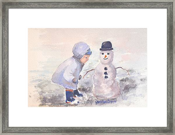 Framed Print featuring the painting First Snowman by Genevieve Brown