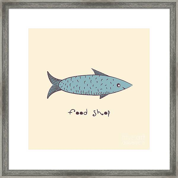 Fish A Freehand Drawing  Logo Store Food Framed Print