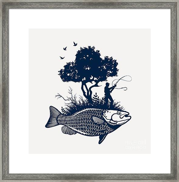 Fish Island With Fisherman And Tree Framed Print by Moloko88