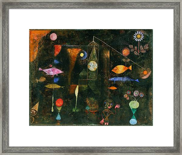 Framed Print featuring the painting Fish Magic by Paul Klee