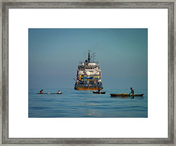 Fishing Around The Art Carlson On Anchor Framed Print