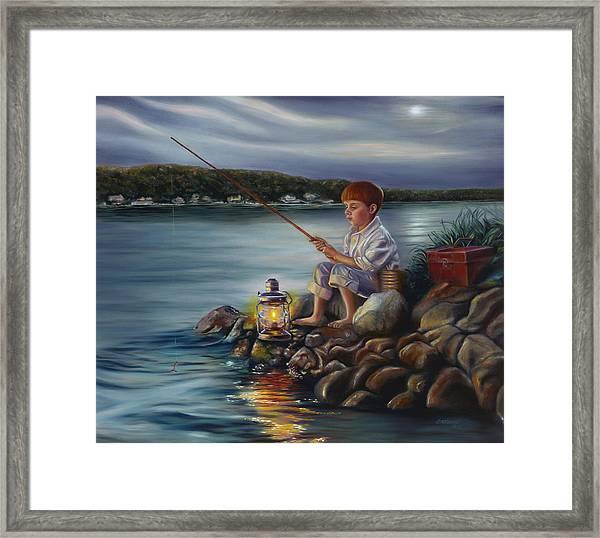 Fishing At Dusk Framed Print