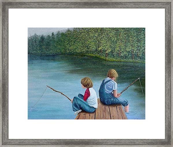Fishing At The Lake Framed Print