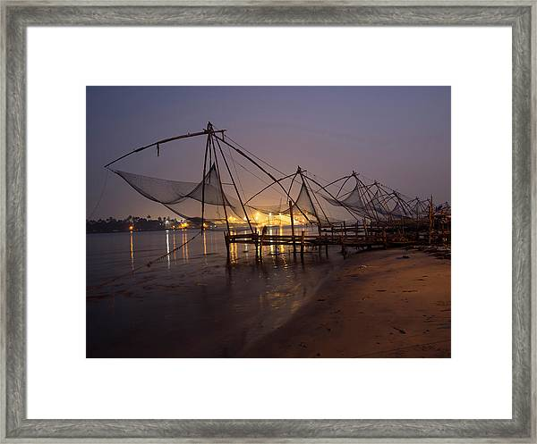 Fishing Boat And Crane At Cochin Framed Print by David H. Wells