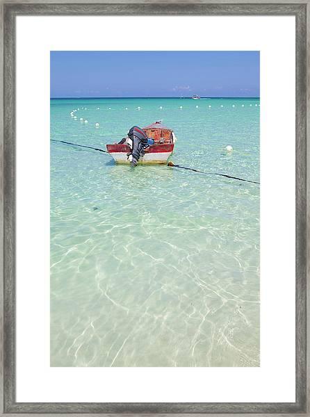 Fishing Boat On Idyllic Tropical Beach Framed Print