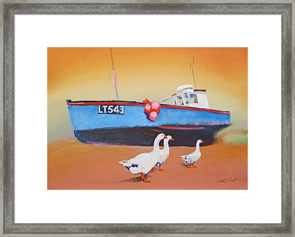 Fishing Boat Walberswick With Geese Framed Print