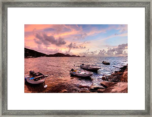 Fishing Boats At A Firey Sunset Framed Print by Anya Brewley Schultheiss