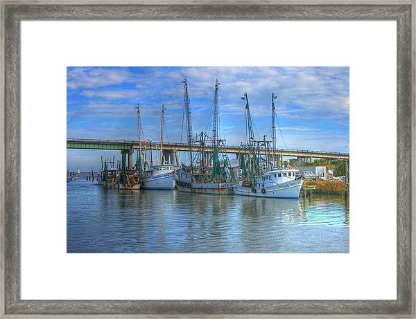 Fishing Boats At The Dock Framed Print
