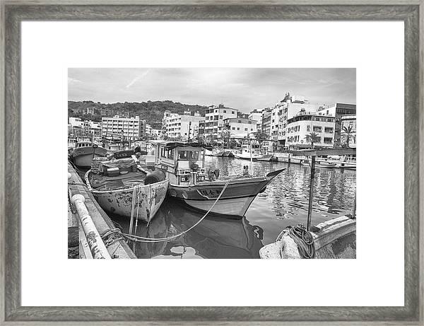 Fishing Boats B W Framed Print