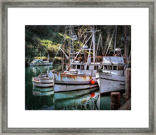 Fishing Boats In Fort Bragg Framed Print