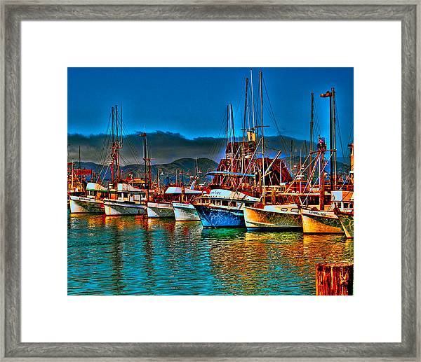 Framed Print featuring the photograph Fishing Fleet At Suns Setting by William Havle