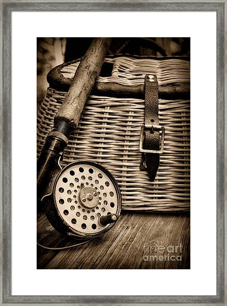Fishing - Fly Fishing - Black And White Framed Print
