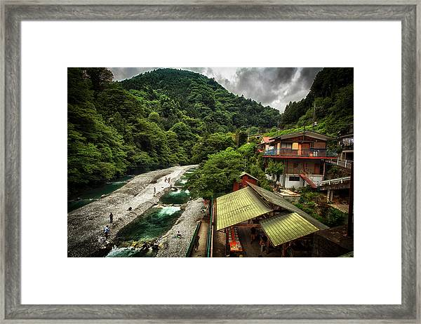 Fishing Hole In Okutama Framed Print by Rscpics