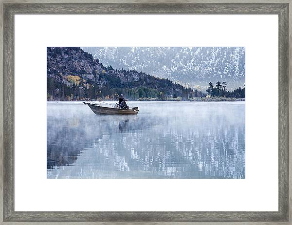 Framed Print featuring the photograph Fishing Into Silver by Priya Ghose