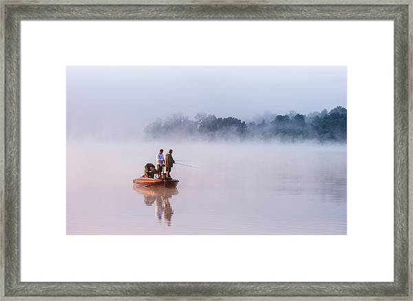 Fishing On Foggy Lake Framed Print