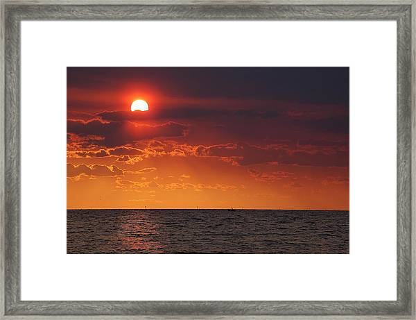 Fishing Till The Sun Goes Down Framed Print