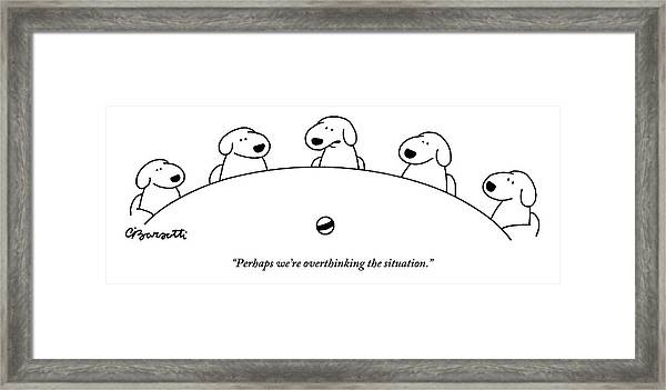 Five Dogs Sitting Around A Roundtable Framed Print
