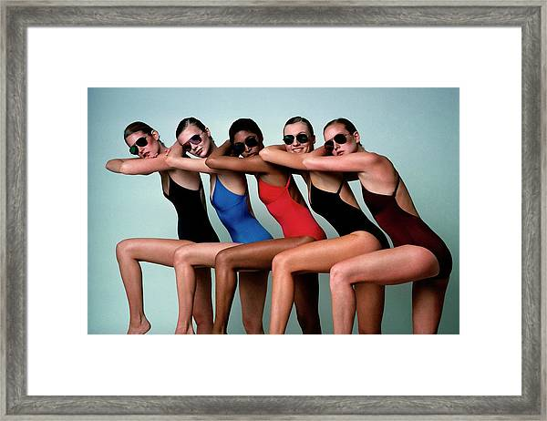 Five Models Wearing Bathing Suits Framed Print