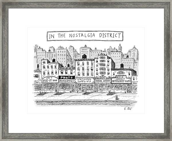 Five Stores On A Street Make-up The Nostalgia Framed Print