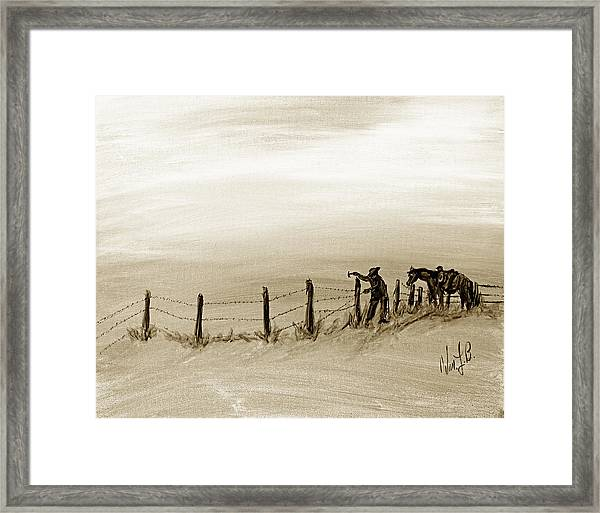 Fix On The Prairie Framed Print