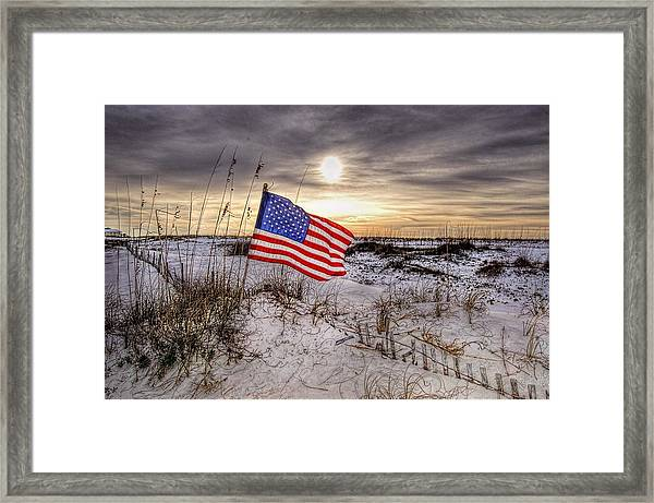 Flag On The Beach Framed Print