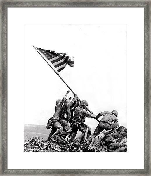 Flag Raising At Iwo Jima Framed Print